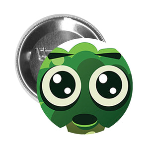 Round Pinback Button Pin Brooch Silly Green Shocked Broccoli Emoji Cartoon - Zoom