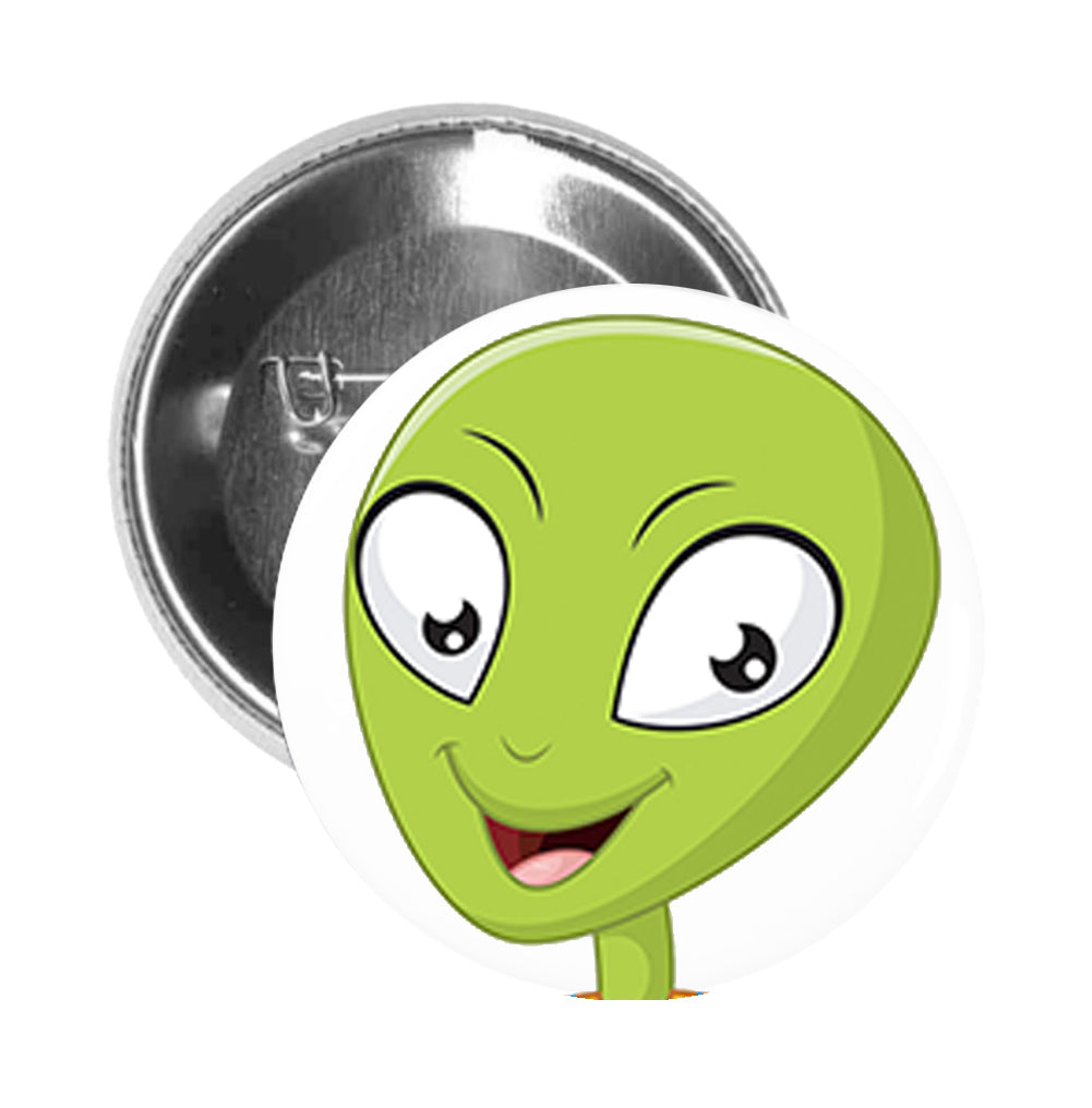 Round Pinback Button Pin Brooch Silly Happy Green Alien in Spacesuit Cartoon - Zoom