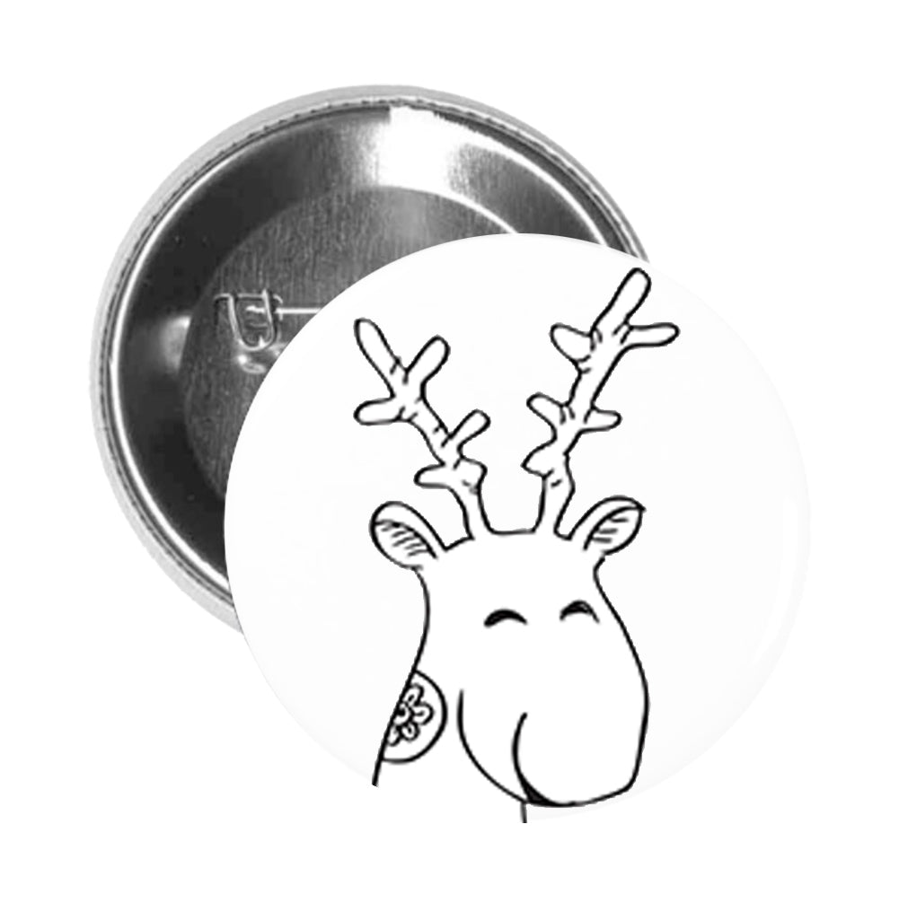 Round Pinback Button Pin Brooch Silly Happy Oh Deer Calligraphy Sketch Icon - Zoom