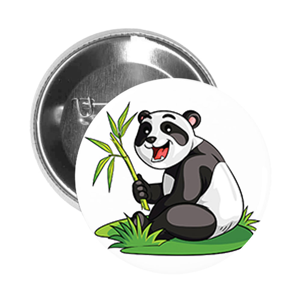 Round Pinback Button Pin Brooch Silly Happy Panda Bear with Bamboo