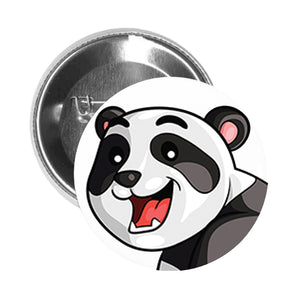 Round Pinback Button Pin Brooch Silly Happy Panda Bear with Bamboo - Zoom