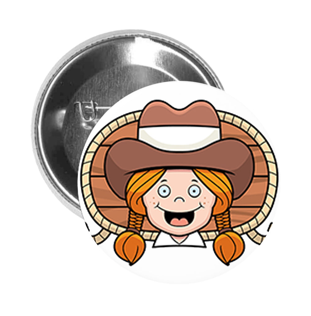 Round Pinback Button Pin Brooch Silly Happy Pioneer Farmer Amish Girl Cartoon
