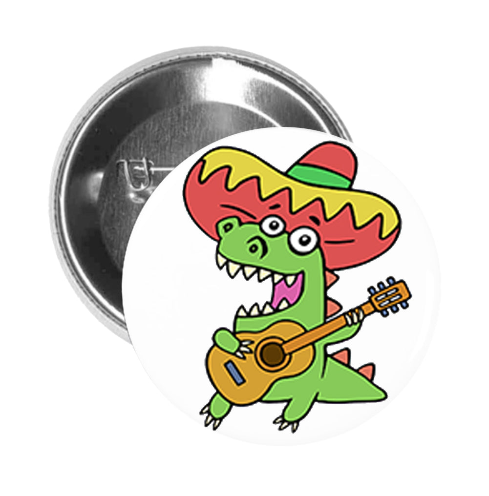 Round Pinback Button Pin Brooch Silly Happy Singing Dinosaur Playing Guitar Cartoon Emoji