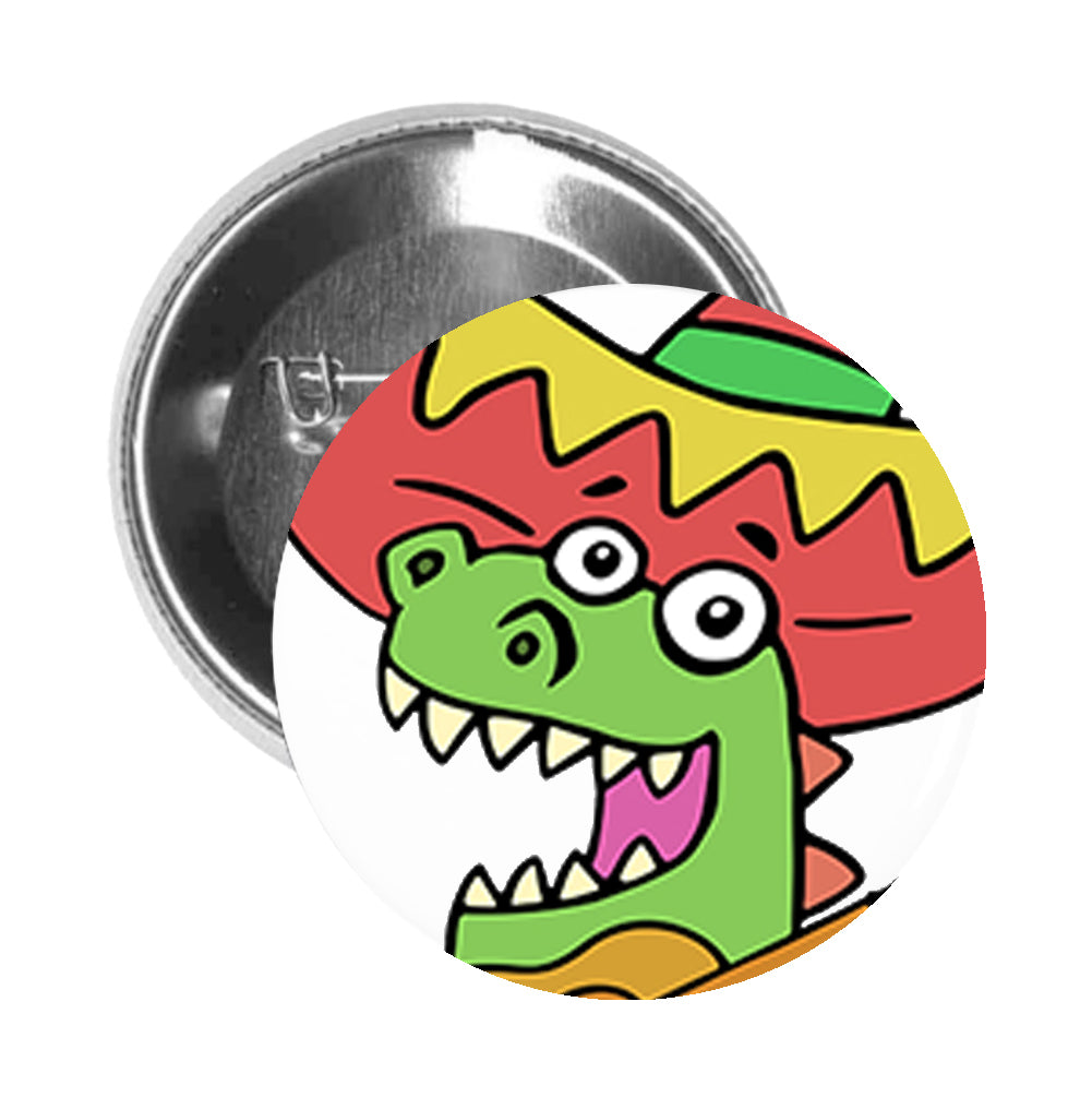 Round Pinback Button Pin Brooch Silly Happy Singing Dinosaur Playing Guitar Cartoon Emoji - Zoom