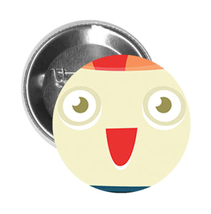 Round Pinback Button Pin Brooch Silly Happy Sushi Sashimi Cartoon Emoji - Zoom