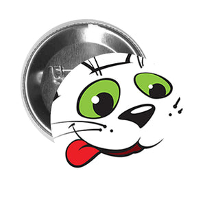 Round Pinback Button Pin Brooch Silly Happy White Kitty Cat with Green Eyes Cartoon - Zoom