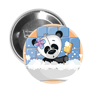 Round Pinback Button Pin Brooch Silly Panda Girl in Bubble Bath