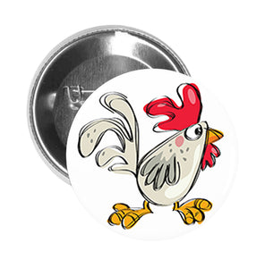 Round Pinback Button Pin Brooch Silly Pen Art Chicken Rooster Cartoon