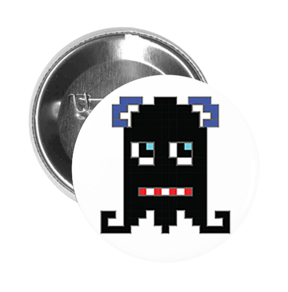 Round Pinback Button Pin Brooch Silly Pixelated Video Game Monster Cartoon Emoji
