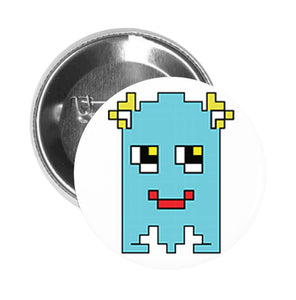 Round Pinback Button Pin Brooch Silly Pixelated Video Game Monster Cartoon Emoji (4)
