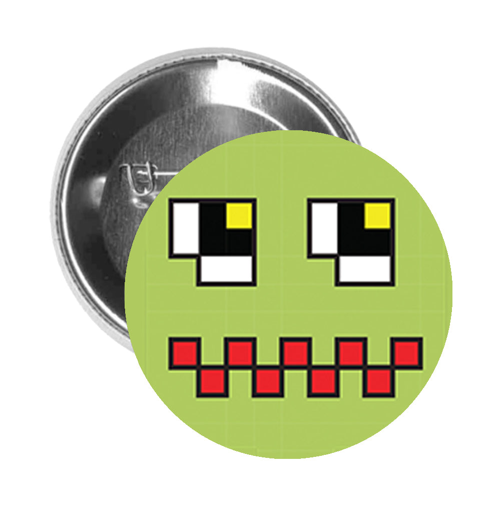 Round Pinback Button Pin Brooch Silly Pixelated Video Game Monster Cartoon Emoji (7) - Zoom