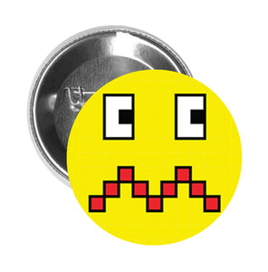 Round Pinback Button Pin Brooch Silly Pixelated Video Game Monster Cartoon Emoji (8) - Zoom