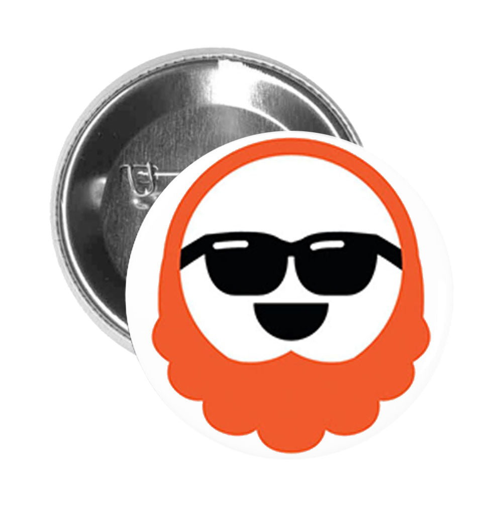 Round Pinback Button Pin Brooch Silly Red Haired Bearded Man Emoji #5