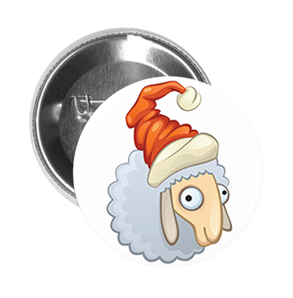 Round Pinback Button Pin Brooch Silly Santa Furry Lamb Cartoon Icon