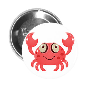 Round Pinback Button Pin Brooch Silly Sea Creature Cartoon Emoji - Crab