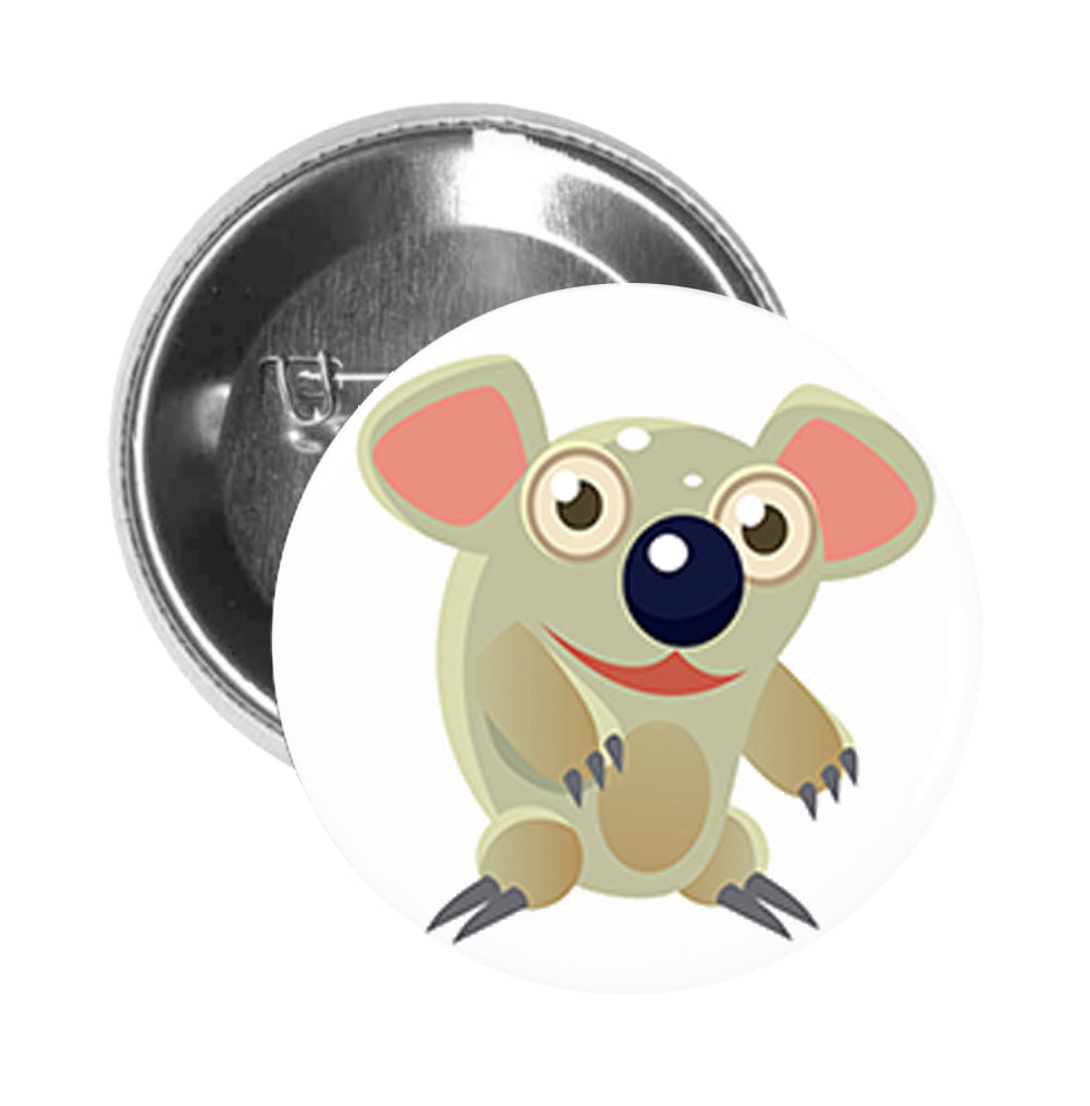Round Pinback Button Pin Brooch Silly Surprised Koala Bear Cartoon