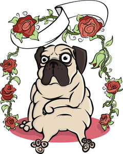 Silly Lonely Pug Puppy Dog on Valentine Rose Swing Vinyl Decal Sticker