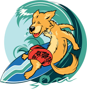 Silly Surfing Beach Dog Cartoon Vinyl Decal Sticker