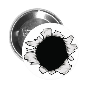Round Pinback Button Pin Brooch Silver Bullet Hole Optical Illusion Cartoon
