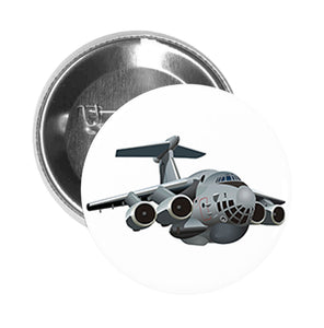 Round Pinback Button Pin Brooch Silver Fast Military Air Force Fighter Jet Cartoon