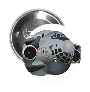 Round Pinback Button Pin Brooch Silver Fast Military Air Force Fighter Jet Cartoon - Zoom