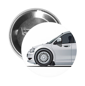 Round Pinback Button Pin Brooch Silver Shiny Sexy Luxury Sedan Car Cartoon - Zoom