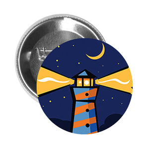Round Pinback Button Pin Brooch Simple Abstract Geometric Lighthouse Moonlight Cartoon - Zoom