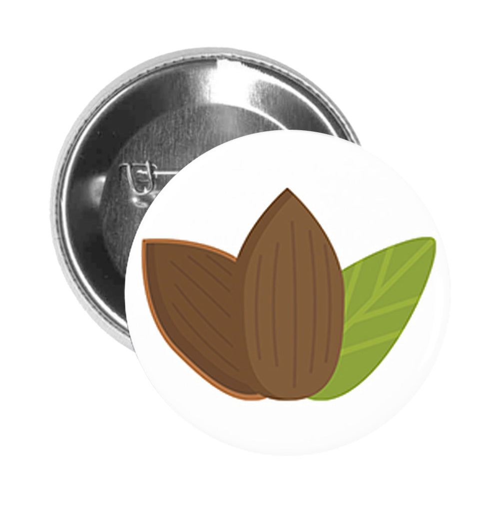 Round Pinback Button Pin Brooch Simple Almond Cacao Bean with Leaf Cartoon Emoji