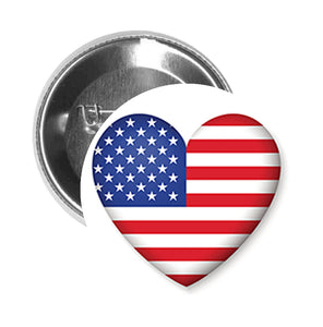 Round Pinback Button Pin Brooch Simple American Flag Heart Icon