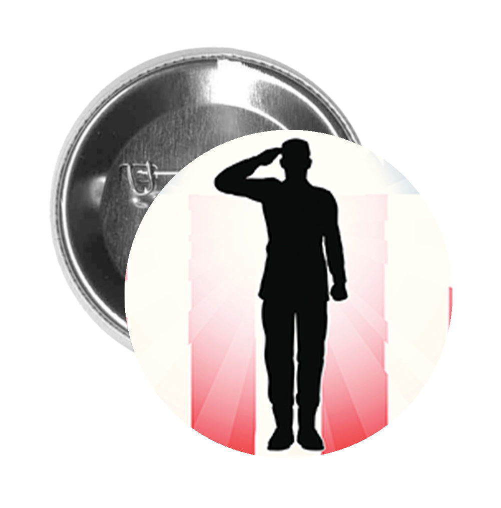 Round Pinback Button Pin Brooch Simple American Flag Military Man Salute Silhouette Icon - Zoom