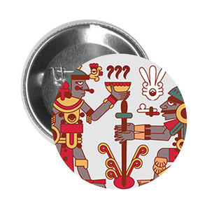Round Pinback Button Pin Brooch Simple Ancient Mayan Aztec Chocolate Making Hieroglyphic Cartoon - Zoom