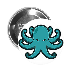 Round Pinback Button Pin Brooch Simple Angry Teal Octopus Cartoon Emoji