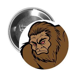 Round Pinback Button Pin Brooch Simple Angry Yeti Abominable Snowman Cartoon - Brown - Zoom