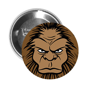 Round Pinback Button Pin Brooch Simple Angry Yeti Abominable Snowman Cartoon Head - Brown - Zoom