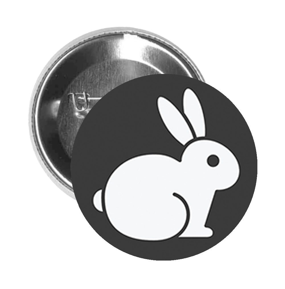 Round Pinback Button Pin Brooch Simple Animal Friendly Vegan Cruelty Free Bunny Logo Cartoon - Not Tested On Animals Black #1 - Zoom