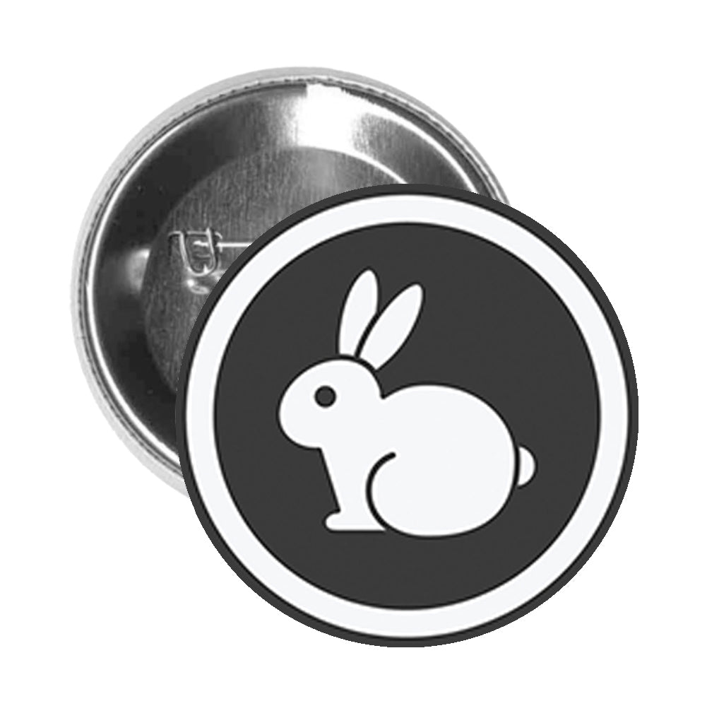 Round Pinback Button Pin Brooch Simple Animal Friendly Vegan Cruelty Free Bunny Logo Cartoon - Simple  Rabbit Icon White