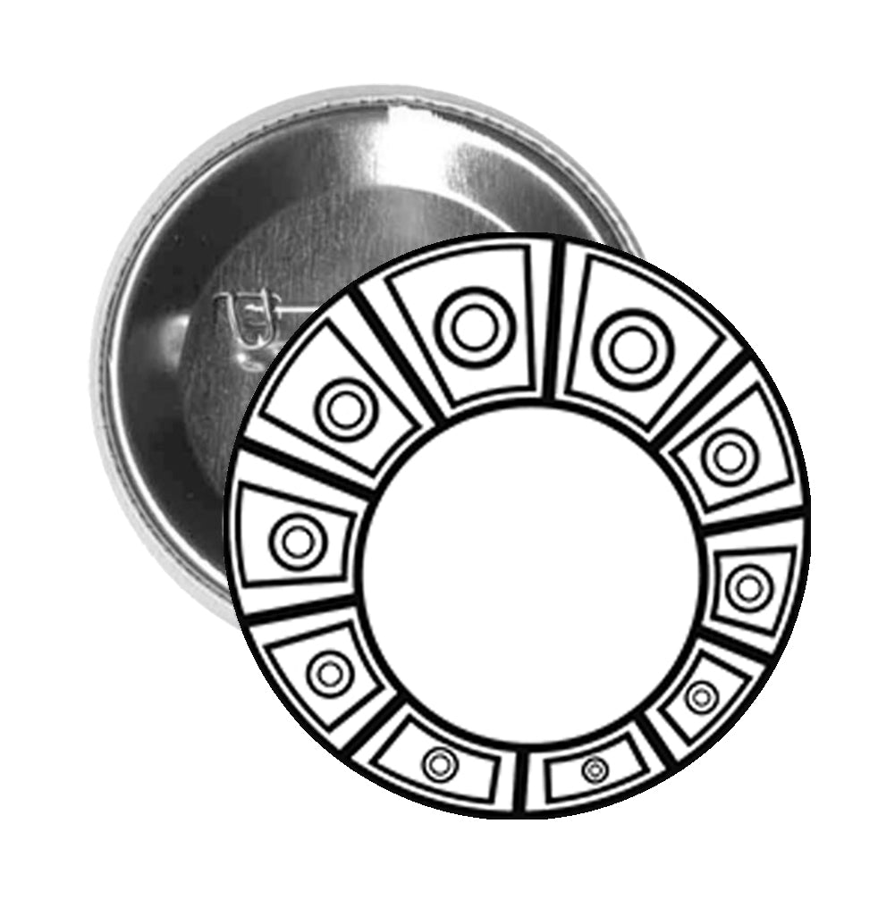 Round Pinback Button Pin Brooch Simple Aztec Circle Pattern - Zoom