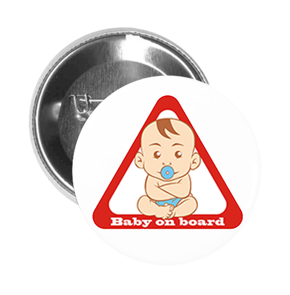 Round Pinback Button Pin Brooch Simple Baby on Board Cartoon Baby Boy Icon