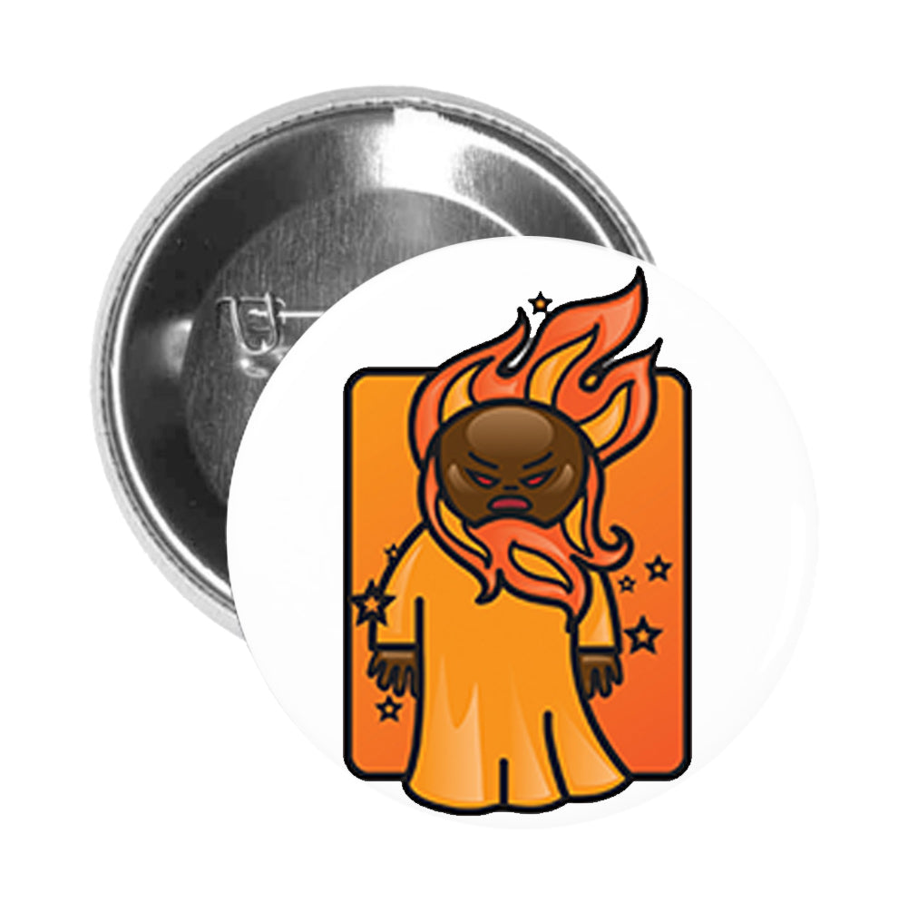 Round Pinback Button Pin Brooch Simple Basic Life Elements Cartoon Emoji Icon - Fire