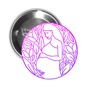 Round Pinback Button Pin Brooch Simple Beautiful Purple Pink Floral Ombre Pregnancy Emblem Cartoon Icon