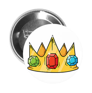 Round Pinback Button Pin Brooch Simple Bejeweled Golden Crown Cartoon Emoji