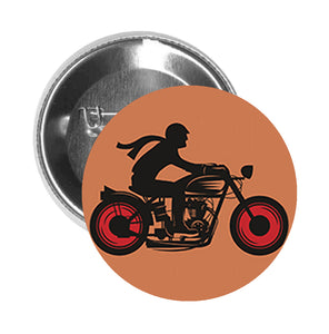 Round Pinback Button Pin Brooch Simple Biker Motorcycle Silhouette Cartoon Icon - Ride Explore - Zoom