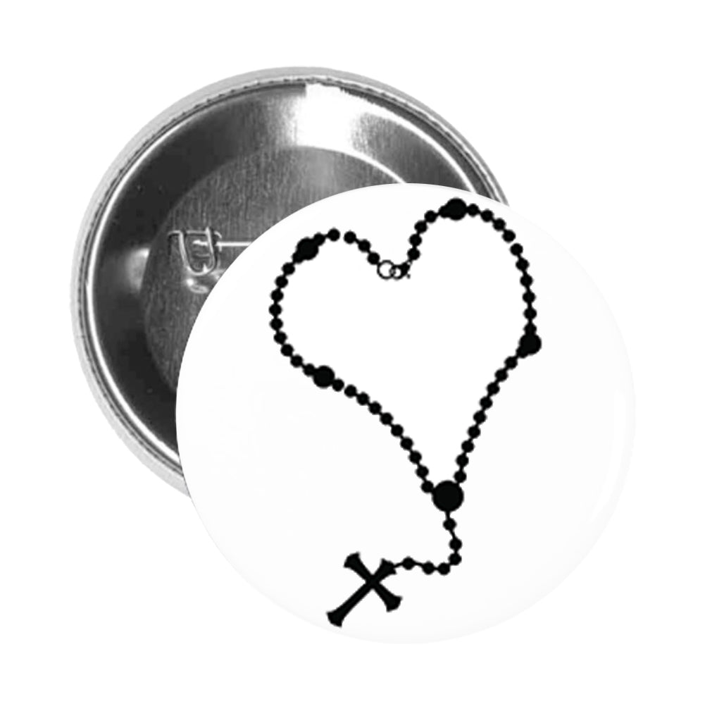Round Pinback Button Pin Brooch Simple Black Rosary Necklace