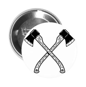 Round Pinback Button Pin Brooch Simple Black and White Wooden Wood Axes Cross Cartoon