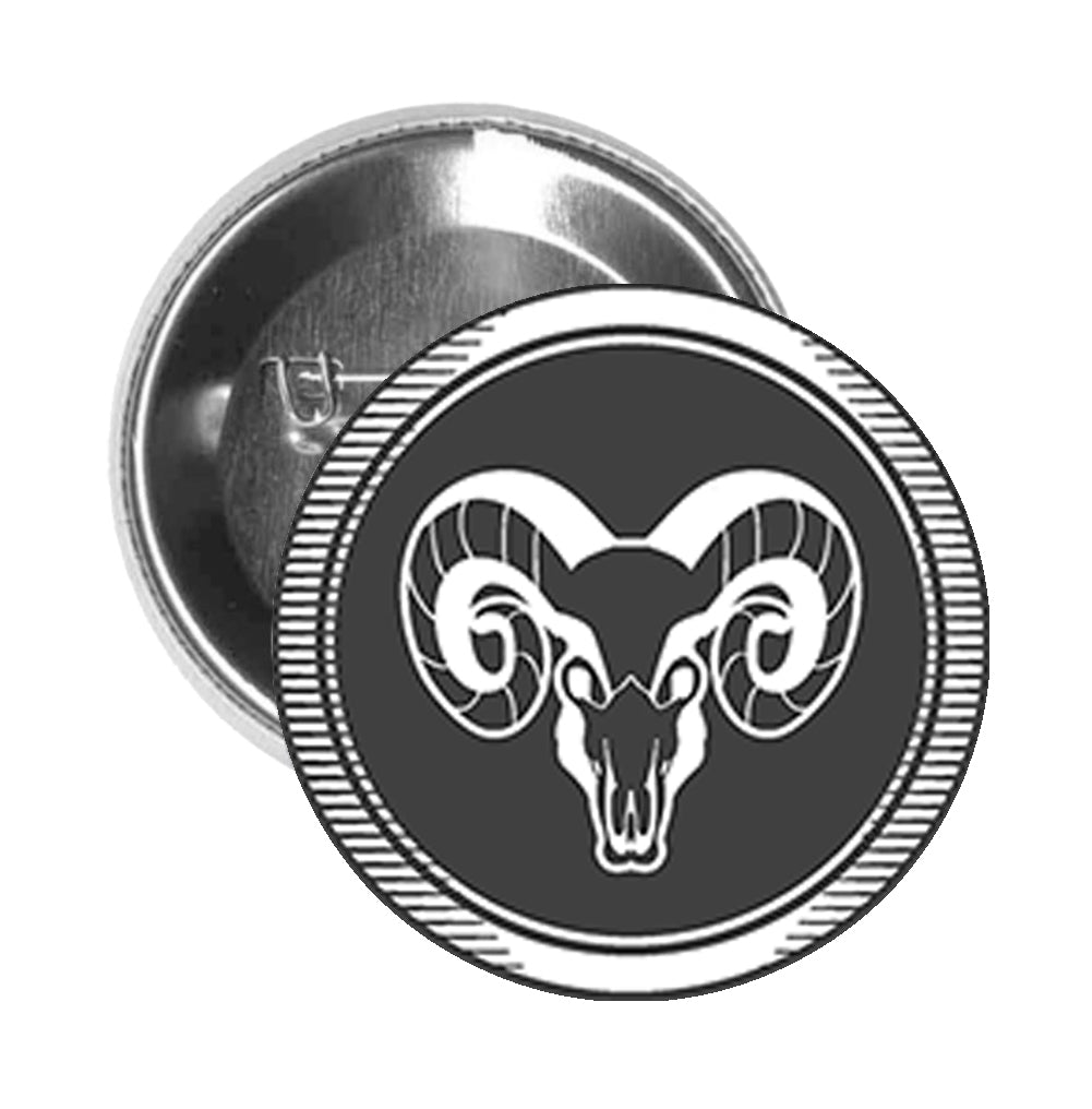 Round Pinback Button Pin Brooch Simple Black and White Zodiac Sign Icon - Aries
