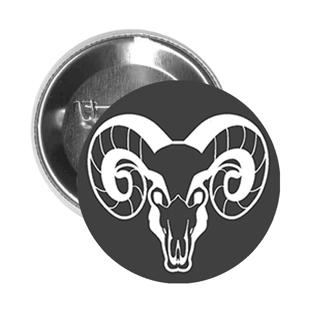 Round Pinback Button Pin Brooch Simple Black and White Zodiac Sign Icon - Aries - Zoom