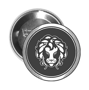 Round Pinback Button Pin Brooch Simple Black and White Zodiac Sign Icon - Leo