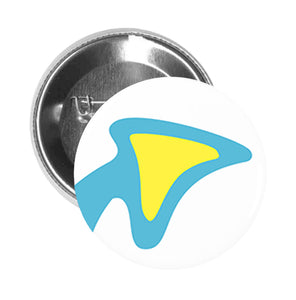 Round Pinback Button Pin Brooch Simple Blue Curved Arrow with Yellow Arrow Head Cartoon Clip Art - Zoom
