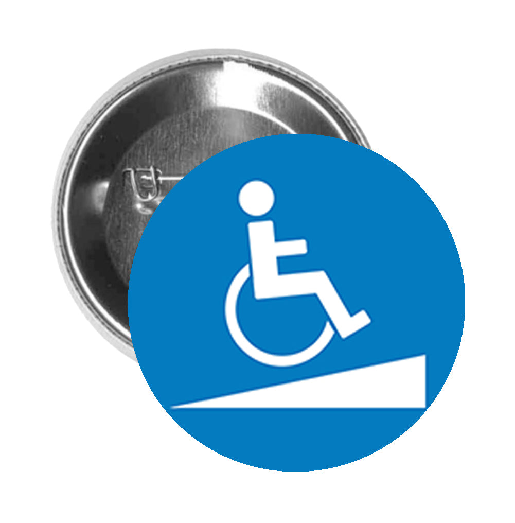 Round Pinback Button Pin Brooch Simple Blue Disabled Wheelchair Access Cartoon Sign Symbol Icon