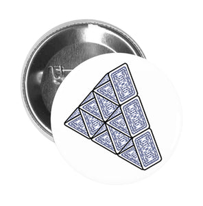 Round Pinback Button Pin Brooch Simple Blue House of Cards Pyramid Cartoon